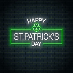 Patrick day neon banner. Patrick clover neon sign