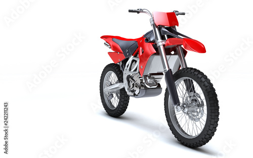 3D illustration of red glossy sports motorcycle isolated on white background. Perspective. Front side view. Right side.