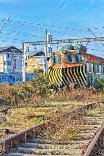 Old train snow plow