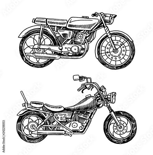 Vintage motorcycles. Collection of bicycles. Extreme Biker Transport. Retro Old Style. Hand drawn Engraved Monochrome Sketch.