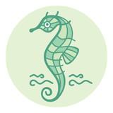 Sea horse. Vector monochrome image