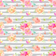 Cute, Bright, Colorful Watercolor Flower Background Pattern. Girly Spring Floral Wallpaper Patterns - 242229649