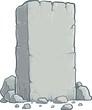 Stone rock cartoon, stone banner, big grey rubble