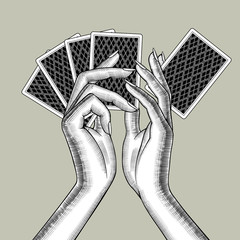 Female hands with playing cards fan © Raman Maisei