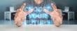 Leinwanddruck Bild - Businessman using future text interface 3D rendering