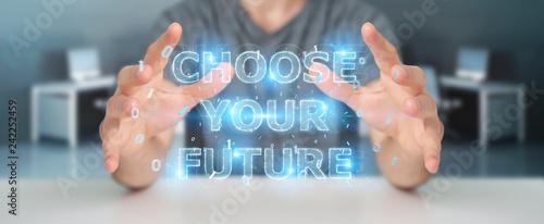 Leinwanddruck Bild Businessman using future text interface 3D rendering