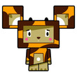 Adorably Cute Little Cartoon Block Giraffe Character  - 242253212