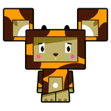 Adorably Cute Little Cartoon Block Giraffe Character