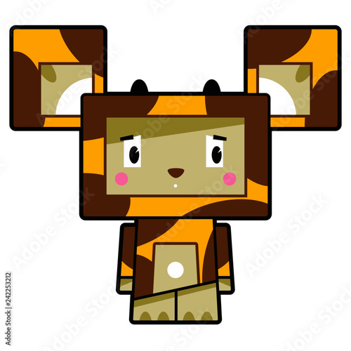 Adorably Cute Little Cartoon Block Giraffe Character  - 242253212