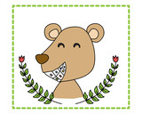 Smile bear with colorful teeth