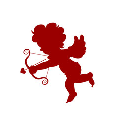 Silhouette red amour cupid baby, symbol ancient mythology angle holding bow and arrow isolated on white background for decorate on valentine's day, Vector illustration. © Thanaporn