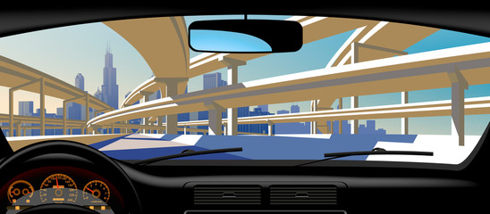 View from inside the car on the highway overpass and city skyline © Raman Maisei
