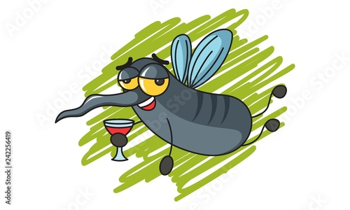 Vector cartoon illustration of cute mosquito holding wine glass in hand. Isolated on white background. - 242256419