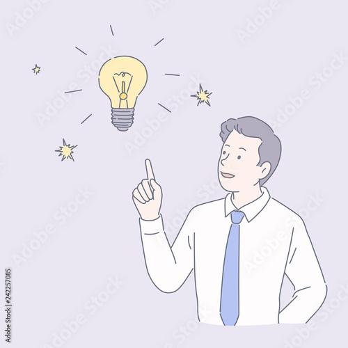 Businessman with lighting bulb