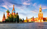 Russia - Moscow in red square with Kremlin and St. Basil's Cathedral - 242258244