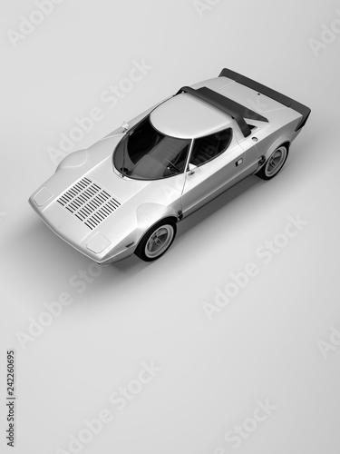 Fridge magnet a classic rallye sports car in a white studio