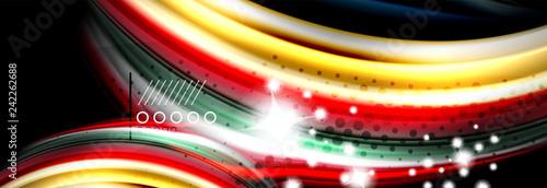 Rainbow color fluid wave lines flow poster. Wave Liquid shapes design