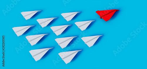 Papierflieger Formation auf Türkis Rot