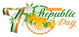 India Happy republic day 70 years. Lettering text for greeting card