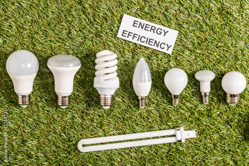 top view of modern fluorescent lamps near paper card with lettering on green grass, energy efficiency concept
