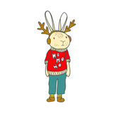 Funny bunny character in cartoon style - 242267090