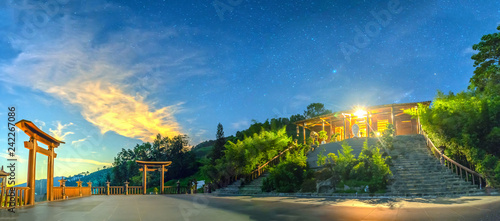 Da Lat, Vietnam - December 2nd, 2018: The magical night of yard 'Qui Phap Linh An' pagoda, with peaceful starry sky to relax the soul and welcome the new day in Da Lat, Vietnam - 242267086