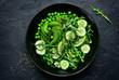 Leinwanddruck Bild - Green vegetables salad (sweet pea, avocado, arugula, cucumber).Top view.