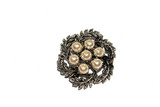 Vintage Antique Silver Diamond Brooch on White Background