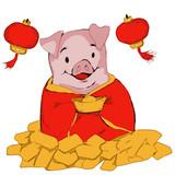 Happy pig Chinese New Year theme