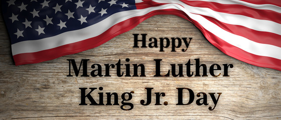Happy Martin Luther King jr day. USA flag and text on wooden background. 3d illustration