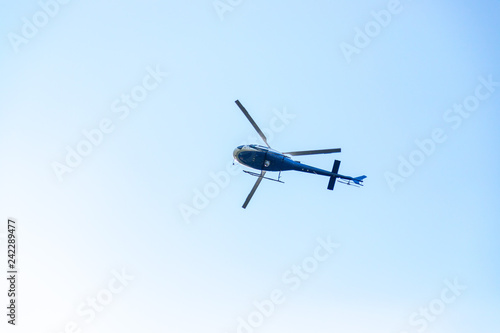 Helicopter, blue sky
