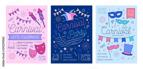 Bundle of placard, flyer or invitation templates for masquerade ball, carnival or costume party with fireworks and masks drawn with lines. Vector illustration in linear style for event promotion.
