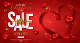 Valentines day sale design with red heart shape silk ribbon. Cut paper style. Vector shopping discount - 242296052