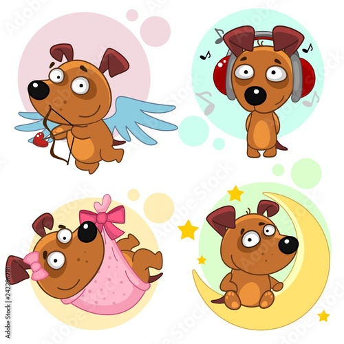 Set of icons with dogs for children and design, an angel dog with wings and a bow, listening to music in headphones, sitting on the moon or the month around a star, a puppy in a pink diaper.