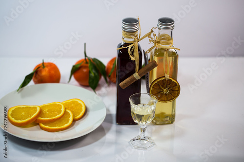 homemade liqueur, white background