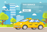 Yellow taxi service.City Building of a tower skyscrapers. Flat vector. Banner concept.Car cab. - 242298019