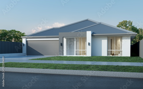 mata magnetyczna View of modern house in Australian style on blue sky background,Contemporary residence design. 3D rendering.