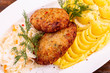 Vegetable cutlets with sauerkraut, are served with puree - 242305021