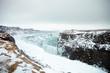 Leinwanddruck Bild - Frozen Waterfalls At Gullfoss In Iceland