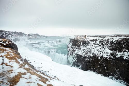 Leinwanddruck Bild Frozen Waterfalls At Gullfoss In Iceland