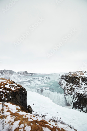 Frozen Waterfalls At Gullfoss In Iceland - 242306489