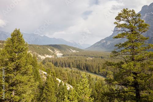 Leinwanddruck Bild View Over River In Wooded Valley Between Mountains In Alaska