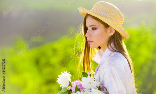 Face and skincare. Travel in summer. Summer girl with long hair. Spring woman. Springtime and vacation. Natural beauty and spa therapy. Woman with fashion makeup. romantic woman outdoor
