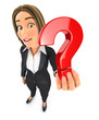 3d business woman holding a question mark icon