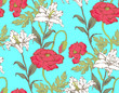 Pattern of lily and poppy. Vector illustration. Suitable for fabric, wrapping paper and the like - 242309069