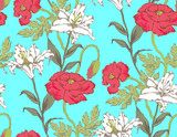Pattern of lily and poppy. Vector illustration. Suitable for fabric, wrapping paper and the like