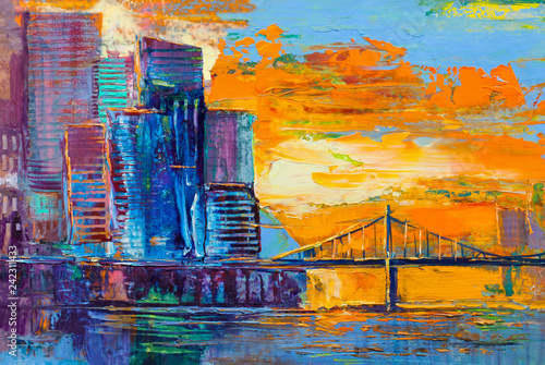 Leinwanddruck Bild Abstract painting of urban skyscrapers.