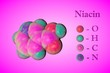 Leinwanddruck Bild - Molecular model of niacin, vitamin B3. Atoms are represented as spheres with color coding: oxygen (red), hydrogen (light blue), carbon (pink), nitrogen (blue). 3d illustration
