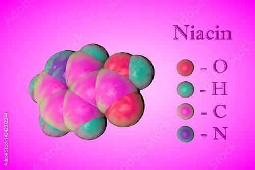 Leinwanddruck Bild Molecular model of niacin, vitamin B3. Atoms are represented as spheres with color coding: oxygen (red), hydrogen (light blue), carbon (pink), nitrogen (blue). 3d illustration