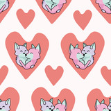 Vector cute fox hug hearts. Seamless repeat pattern. Hand drawn 2 foxy animals hugging inside love heart for romantic valentines day, wedding or pet anniversary background. Free hug concept. - 242313255